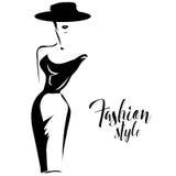 Modelo de moda retro blanco y negro en estilo del bosquejo Mano drenada Foto de archivo libre de regalías