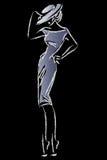 Modelo de moda retro blanco y negro en estilo del bosquejo Mano drenada Fotografía de archivo libre de regalías