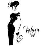 Modelo de moda retro blanco y negro en estilo del bosquejo Mano drenada Imágenes de archivo libres de regalías