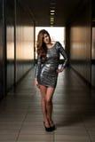 Modelo de moda In Silver Dress Fotografía de archivo