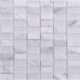 Modelo de mosaico blanco inconsútil del mármol y del vidrio del rectángulo Fotografía de archivo libre de regalías