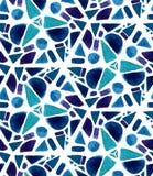 Modelo de mosaico con las tejas pintadas acuarela Colores de la textura del triángulo de la geometría, violetas y azules ilustración del vector