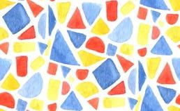 Modelo de mosaico de la acuarela del vector Fondo inconsútil con formas, triángulos y cuadrados pintados de la geometría Azul, ro libre illustration
