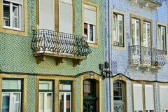 Modelo de mosaico en las casas de Lisboa Imagenes de archivo