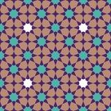 Modelo de mosaico geométrico abstracto con los polígonos y las estrellas, tejas veteadas en el estilo marroquí, ejemplo inconsúti stock de ilustración