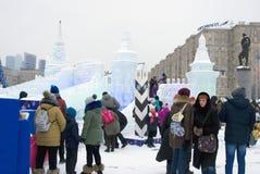 Modelo de Moscú el Kremlin hecho del hielo Imágenes de archivo libres de regalías