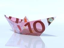 Modelo de nave hecho fuera de billete de banco euro Imágenes de archivo libres de regalías