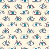 Modelo de ojos abstracto dibujado mano Fondo inconsútil del vector de la vista Textura moderna para el papel pintado, papel de em Imágenes de archivo libres de regalías