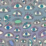 Modelo de ojos abstracto dibujado mano Fondo inconsútil de la vista Textura moderna para el papel pintado, papel de embalaje, dis Fotografía de archivo
