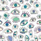 Modelo de ojos abstracto dibujado mano Fondo inconsútil de la vista Textura moderna para el papel pintado, papel de embalaje, dis Imagenes de archivo