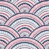 Modelo de onda japonés del seigaiha Impresión étnica para las materias textiles Adornos aztecas y tribales Papel pintado ondulado libre illustration