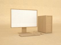Modelo de ordenador hecho del papel reciclado Fotos de archivo