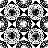 Modelo de ornamentos blancos y negros redondos Stock de ilustración