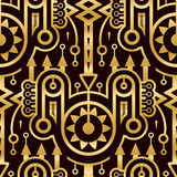 Modelo de oro abstracto inconsútil en el estilo de Techno libre illustration