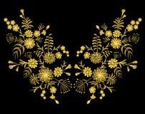 Modelo de oro del cordón de flores en un fondo negro Bordado de imitación Manzanilla, nomeolvides, gerbera, vint rústico de Paisl stock de ilustración