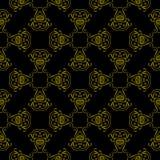 Modelo de oro del vector geométrico con los elementos orientales Parrilla inconsútil con el ornamento abstracto Foto de archivo libre de regalías