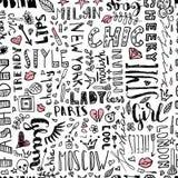 Modelo de palabras y de letras, y accesorios de las mujeres s Inconsútil de moda libre illustration