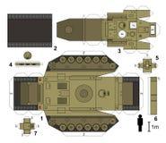 Modelo de papel de um tanque ilustração do vetor
