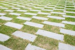 Modelo de piedra de la calzada en un campo de hierba en la opinión de perspectiva Foto de archivo libre de regalías