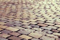 Modelo de piedra del camino del adoquín con efecto del vintage Fotografía de archivo