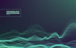 Modelo de puntos futurista Fondo de la onda de la tecnología Extracto de Digitaces Paisaje del ciberespacio Rejilla de las partíc libre illustration