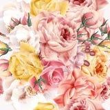 Modelo de Rose con las rosas rosadas del vector y beige realistas para el desi stock de ilustración