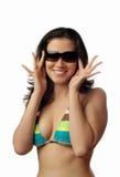 Modelo de sorriso no biquini fotografia de stock