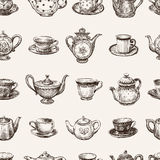Modelo de tazas de té y de teteras ilustración del vector
