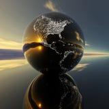 Modelo de tierra con la reflexión en el fondo ilustración del vector