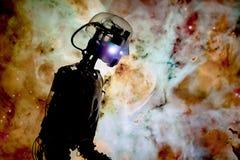 Modelo de um robô iluminado por uma imagem de uma nebulosa fotos de stock royalty free