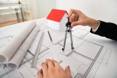 Modelo de Using Compass On del arquitecto Imagen de archivo