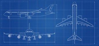 Modelo del aeroplano Aviones del esquema en fondo azul Ilustración del vector ilustración del vector