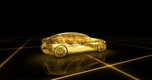 Modelo del alambre del coche deportivo con el fondo de neón amarillo del negro del ob Fotos de archivo