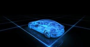 Modelo del alambre del coche deportivo con el fondo de neón azul del negro del ob Foto de archivo