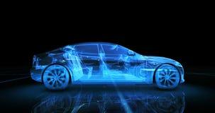 Modelo del alambre del coche deportivo con el fondo de neón azul del negro del ob Fotografía de archivo libre de regalías