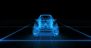 Modelo del alambre del coche deportivo con el fondo de neón azul del negro del ob Imagen de archivo libre de regalías