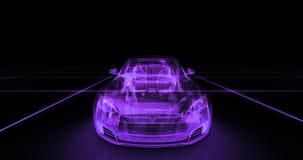 Modelo del alambre del coche deportivo con el fondo de neón púrpura del negro del ob Imagenes de archivo