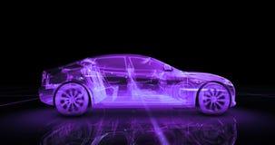 Modelo del alambre del coche deportivo con el fondo de neón púrpura del negro del ob Imagen de archivo libre de regalías