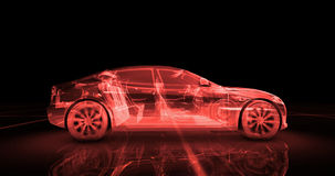 Modelo del alambre del coche deportivo con el fondo de neón rojo del negro del ob Fotografía de archivo
