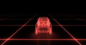 Modelo del alambre del coche deportivo con el fondo de neón rojo del negro del ob Imagen de archivo libre de regalías