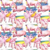 Modelo del animal salvaje del cerdo en un estilo de la acuarela stock de ilustración