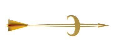 Modelo del asunto meta Flecha de oro - euro Imagen de archivo libre de regalías