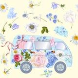 Modelo del autobús de la flor libre illustration