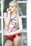 Modelo del Blonde del sueño americano Fotografía de archivo