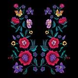 Modelo del bordado con las amapolas y las flores del prado libre illustration