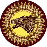 Modelo del círculo con el dragón stock de ilustración
