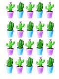 Modelo del cactus de la acuarela con el pote azul y violeta en el fondo blanco ilustración del vector
