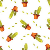 Modelo del cactus de la acuarela inconsútil en vector Fondo pintado a mano del jardín del vintage Foto de archivo