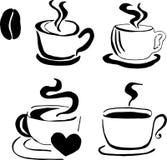 Modelo del café con las habas stock de ilustración