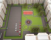 Modelo del campo de deporte 3d aislada en blanco Fotografía de archivo libre de regalías